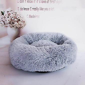 (Hellgrau) Haustier bett,Hund Katze Rund Warm Kuschelzwinger Soft Welpen Sofa Kissen Außendurchmesser 40 cm
