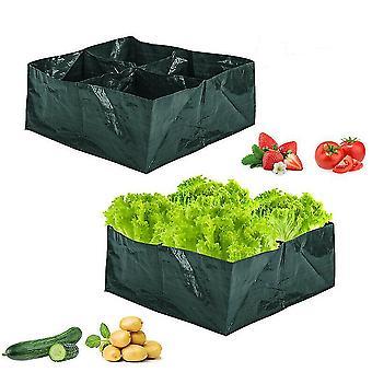 Plant Grow Bags Garden Maceta de flores de hortalizas 4 rejillas plegables (60cm¡Á60cm¡Á25cm)