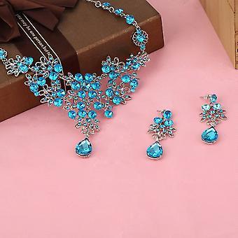 Crystal Butterfly ékszer készletek vízcsepp minta strassz nyaklánc fülbevaló
