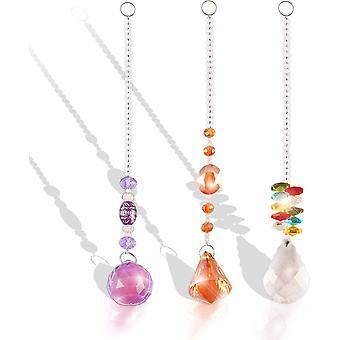 Farvet krystal beaded solfanger, krystal solfanger hængende solfanger, håndlavet krystal solfanger til hjemmet, kontor, have, bil dekoration