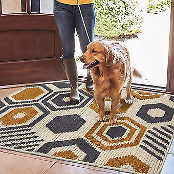 צורה גיאומטרית מחצלת דלת ללא החלקה, מחצלת רגל סופגת ביתית עמידה בפני החלקה, פנימית, חיצונית, כניסה, גרם מדרגות, מסדרון, שטיח חצר, בז '