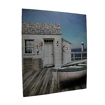 The Dockhouse LED Lighted Coastal Canvas Print 24 X 20 Inch