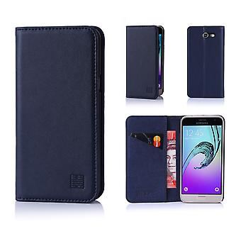 32nd Classic Real Leather Wallet for Samsung Galaxy J3 (2017) J327P - Navy Blue