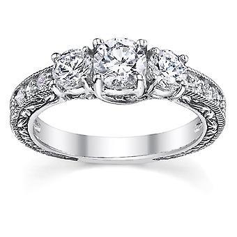 1 カラット アンティーク調 3 石ダイヤモンドの婚約指輪、14 K ホワイトゴールド