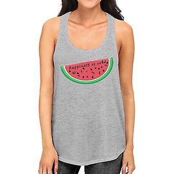 السعادة هي البطيخ الباردة غراي المرأة أعلى خزان راسيرباك القطن