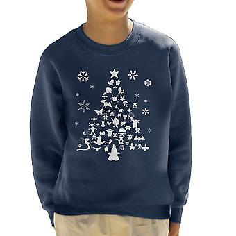 Pokemon Christmas Tree Silhouette White Kid's Sweatshirt