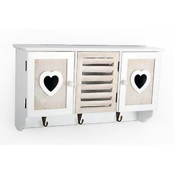 WHITE SHABBY CHIC WOODEN HEART 3 HOOKS AND STORAGE CABINET UNITS