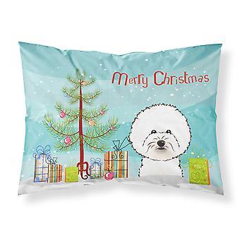 クリスマス ツリーとビションフリーゼのファブリックの標準的な枕