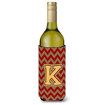 Letter K Chevron granaat en goud wijnfles drank isolator Hugger