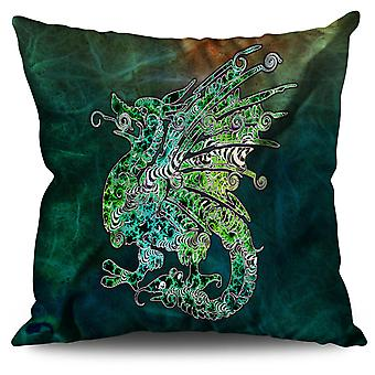 Fantasy Chinese Dragon Linen Cushion 30cm x 30cm | Wellcoda