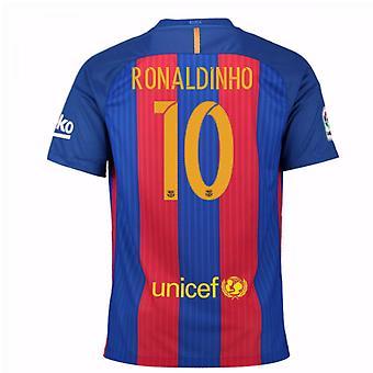 2016 / 17 Barcelona sponsoreret hjem skjorte (Ronaldinho 10) - børn