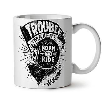 頭蓋骨バイカー スローガン新しいホワイト ティーに乗ってコーヒー セラミック マグカップ 11 オンス |Wellcoda