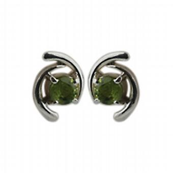 Silver 12x7mm Earrings set with 4mm round Peridot