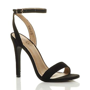 Ajvani kvinnors högklackade plattform ankel rem knappt där strappy sandaler skor