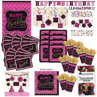 Conjunto de festa feliz aniversário rosa XL 108-teilig para a decoração de 8 convidados Kit Party Pack