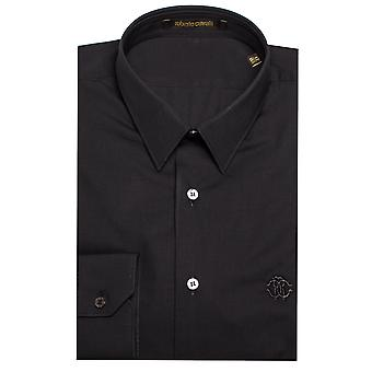 Roberto Cavalli Men's Point Collar Cotton Dress Shirt Black