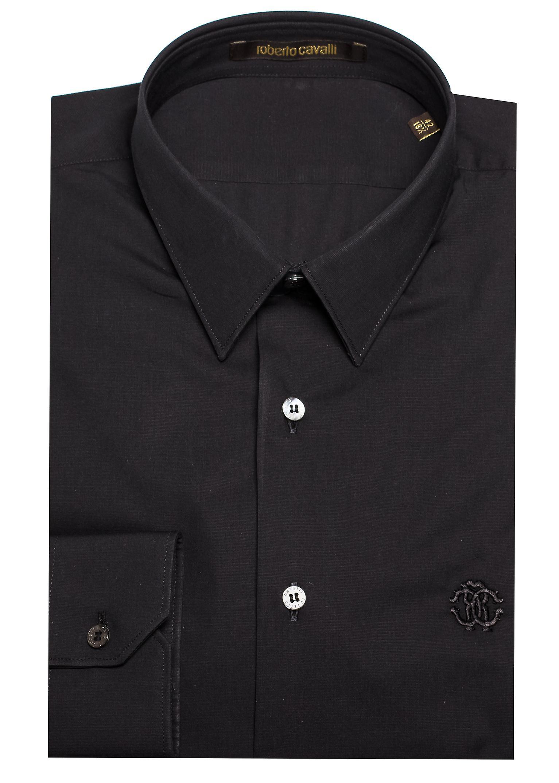Roberto Cavalli Men's Point Collar Cotton Dress Shirt Black