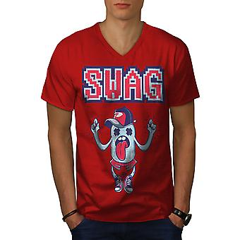 Swag Urban Cool Funy Men RedV-Neck T-shirt | Wellcoda