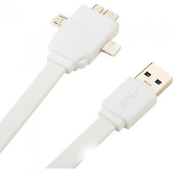 HTCOM 3 in 1 data charging cable 8 pin white lightning TM, micro USB, Dock 30 pin