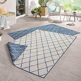 Vända mattan Malaga blå grädde i- & utomhus