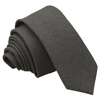 Mørk oliven Hopsack linned mager slips