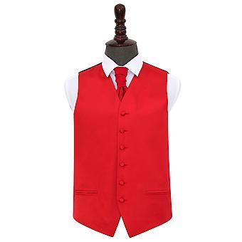 Red Plain satijn bruiloft gilet & Cravat Set