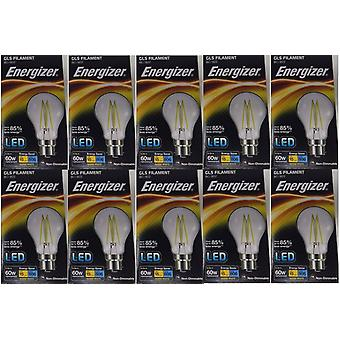 10 X Energizer 6.2W = 60W LED Filament GLS Light Bulb Lamp Vintage BC B22 Bayonet Cap[Energy Class A+]