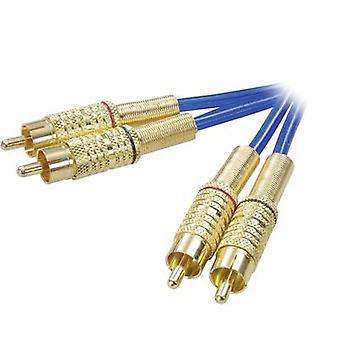 מראה מקצועי RCA אודיו/טלפון כבל [2x תקע RCA (phono)-2x תקע RCA (phono)] 5.00 m כחול מצופה זהב מחברים