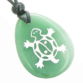Lucky Turtle Magic Yin Yang lycka befogenheter amulett grön Aventurine Totem hängsmycke halsband