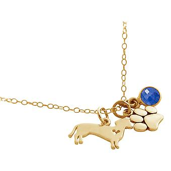 GEMSHINE necklace dachshund, paw with blue sapphire. 925 silver, gold plated, rose