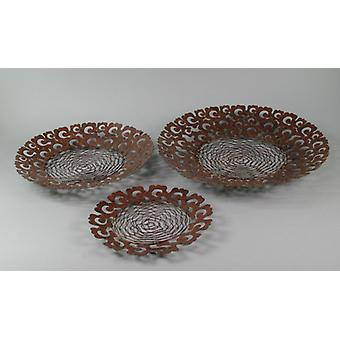 Shell basket cottage metal braid brown/black 3 piece fruit basket