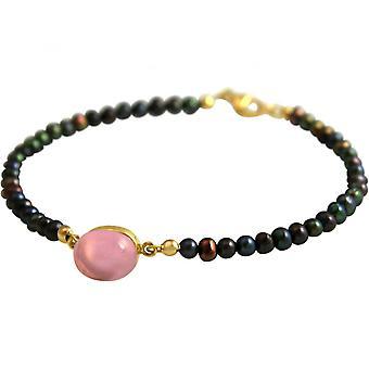 Quartz - pink - 18 cm - Tahiti Pearl Grey - gold-plated ladies - bracelet-