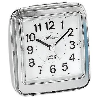Atlanta 1772/19 alarm clock quartz analog silver quietly without ticking with light Snooze