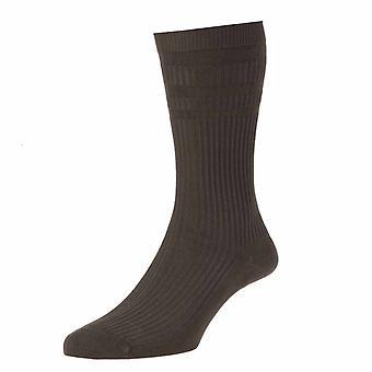 4 Pair Pack HJ91 Hall MENS SOFTOP Non Elastic Cotton Rich Socks 6-11 Dark Brown