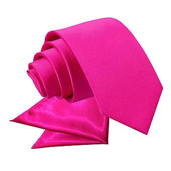 Hot Pink Plain Satin Krawatte & Einstecktuch für jungen eingestellt