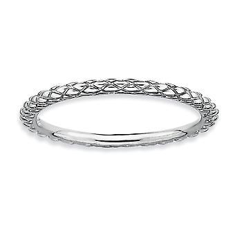 925 sterling silver polerad mönstrad Criss Cross Rhodium-pläterade stapelbara uttryck Rhodium Criss-Cross Ring-Ring