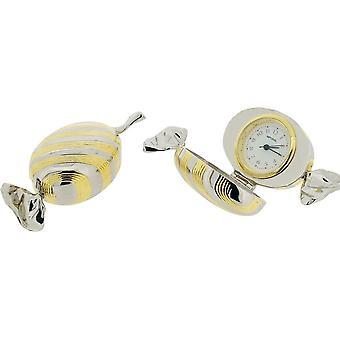 Cadeau producten zoete miniatuur klok - zilver/goud