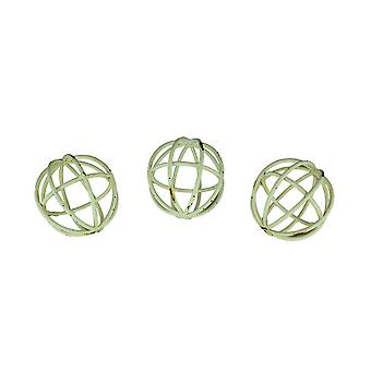 Set of 3 Distressed White Open Work Decorative Balls 4 Inch Diameter