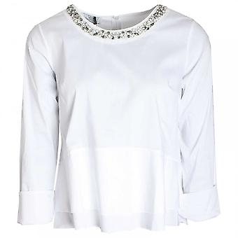 Vlt's By Valentina's Diamante Collar Fitted Long Sleeve Top
