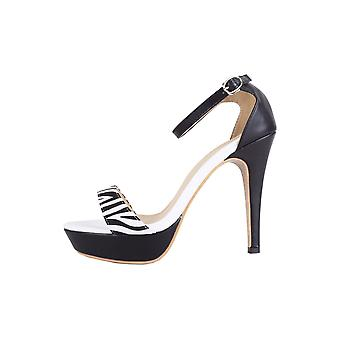Lovemystyle Black And White High Heels With Zebra Patterned Strap