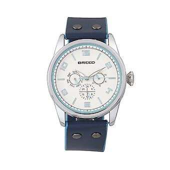 Breed Rio Leather-Band Watch w/Day/Date - Silver/Blue