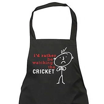 Men's I'd Rather Be Watching The Cricket Cup Black Apron