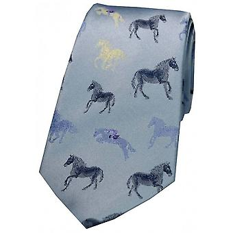 Posh and Dandy Horses Silk Tie - Sky Blue