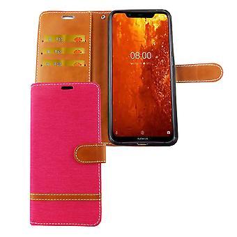 Nokia 8.1 / Nokia X7 Handy Hülle Schutz-Tasche Case Cover Kartenfach Etui Wallet Pink