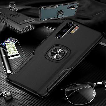 עבור Samsung Galaxy A50 A505F/A30s A307F היברידית מגנט טבעת מתכת במקרה שחור + מארז זכוכית מכסה כיסוי לכסות