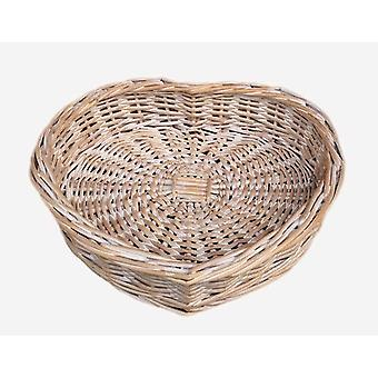 Small White Wash Heart Shaped Wicker Tray
