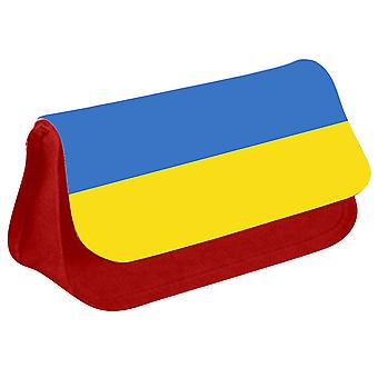 Ukraine Flag Printed Design Pencil Case for Stationary/Cosmetic - 0185 (Red) by i-Tronixs