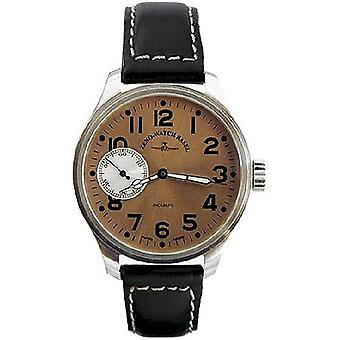 Zeno-watch mens watch oversized pilot brown 8558-9-i6