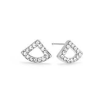 Kaytie Wu Silver Plated Fan Earrings With Swarovski Crystals 28049