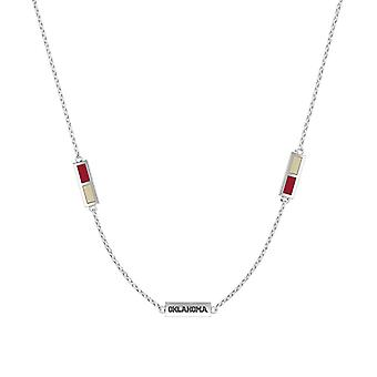 University Of Oklahoma Sterling Silver Engraved Triple Station Necklace In Red & Tan